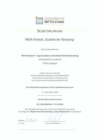INQA Zertifikat Offensive Mittelstand Peter Saubert